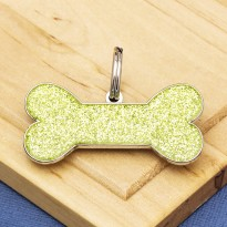 Green Glitter Bone Dog ID Tag