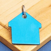 Blue House Pet ID Tag Double Sided