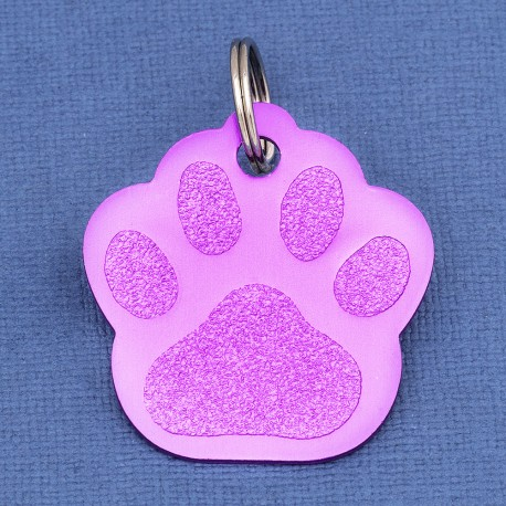 Purple Paw Dog ID Tag