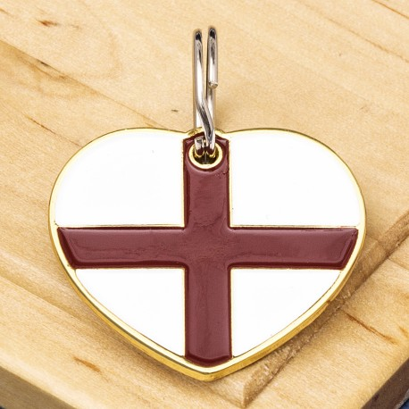 English Flag Heart Pet ID Tag
