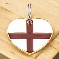 St George England Flag Heart Pet ID Tag