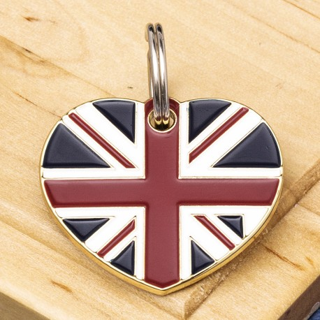 British Flag Heart Pet ID Tag