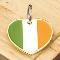 Irish Flag Heart Pet ID Tag