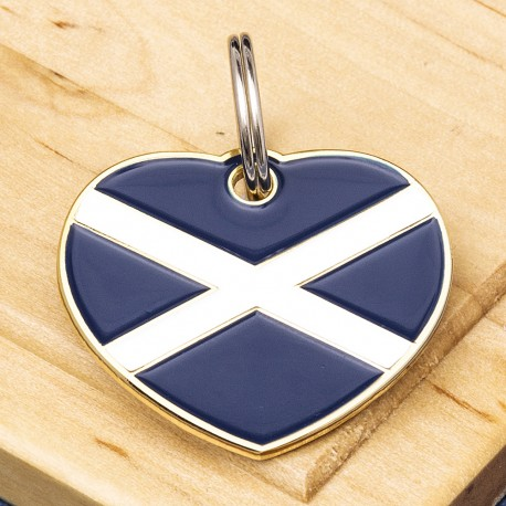 Scottish Flag Heart Pet ID Tag