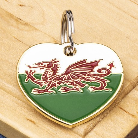 Welsh Flag Heart Pet ID Tag