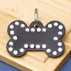 Crystal Bone Dog ID Tag Black