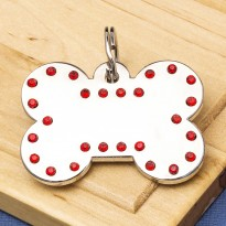 Luxury Crystal Dog ID Tag Red Bone