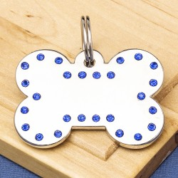 Luxury Crystal Dog ID Tag Blue Bone