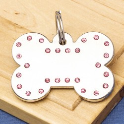 Luxury Crystal Dog ID Tag Pink Bone