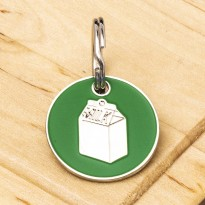 Milk Carton Cat ID Tag Green