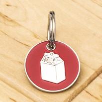 Milk Carton Cat ID Tag Red