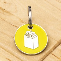 Milk Carton Cat ID Tag Yellow