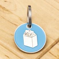 Aqua Milk Carton Cat ID Tag