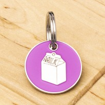 Cat ID Tag Pink Milk Carton