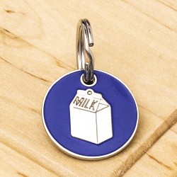 Cat ID Tag Blue Milk Carton