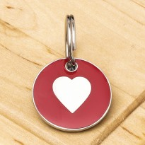 Cat ID Tag Red Heart 20mm