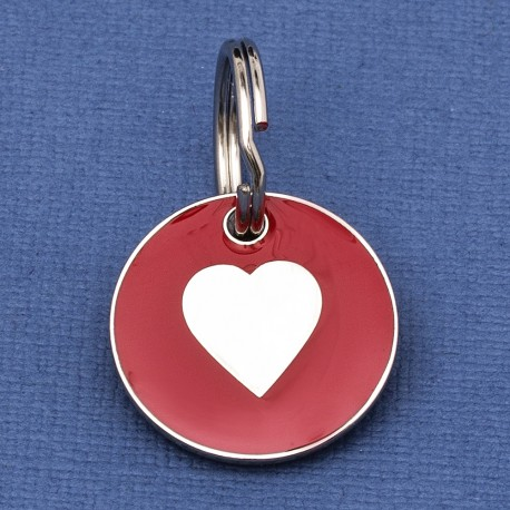 Puppy ID Tag Red Heart 20mm
