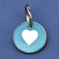 Puppy ID Tag Aqua Heart 20mm