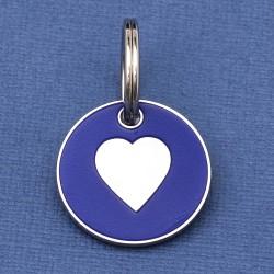 Puppy ID Tag Blue Heart 20mm