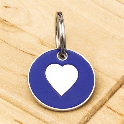 Cat ID Tag Blue Heart 20mm
