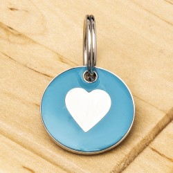 Cat ID Tag Aqua Heart 20mm