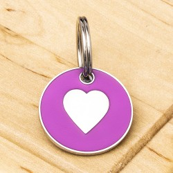 Cat ID Tag Pink Heart 20mm