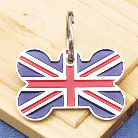 Union Jack Bone Pet Id Tag