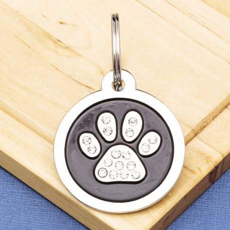 Paw Crystal Pet Tag Large Black