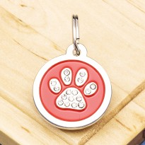Paw Crystal Pet Tag Small Red