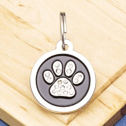 Paw Crystal Pet Tag Small Black