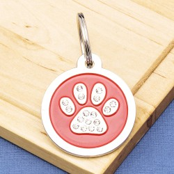 Paw Crystal Pet Tag Large Red