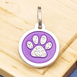Paw Crystal Pet Tag Small Purple