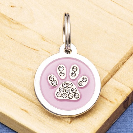 Paw Crystal Pet Tag Large Pink