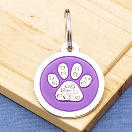 Paw Crystal Pet Tag Large Purple