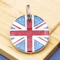 Union Jack Pet ID Tag Glitter