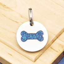 Puppy ID Tag Glitter Bone Blue