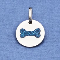 Cat Identity Tag Glitter Bone Blue