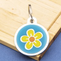Flower Pet Tag Large Blue