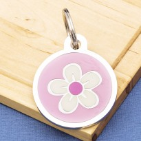 Flower Pet Tag Large Pink