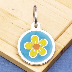 Flower Pet Tag Medium Blue