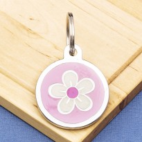 Flower Pet Tag Medium Pink