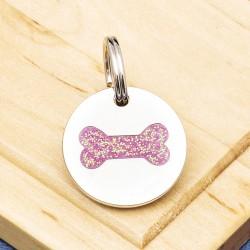 Puppy ID Tag Glitter Bone Pink