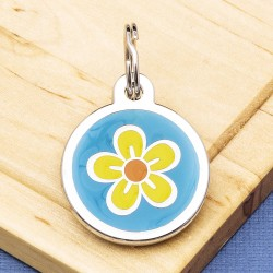 Flower Pet Tag Small Blue
