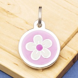 Flower Pet Tag Small Pink