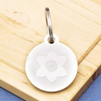 Flower Pet Id Tag Premium Stainless Steel