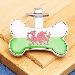 Flag Bone Dog ID Tag Wales