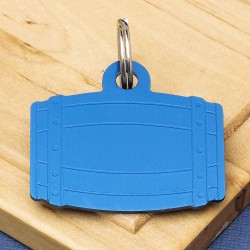 Barrel Pet Id Tag Blue Aluminium