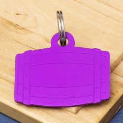Barrel Pet Id Tag Purple Aluminium