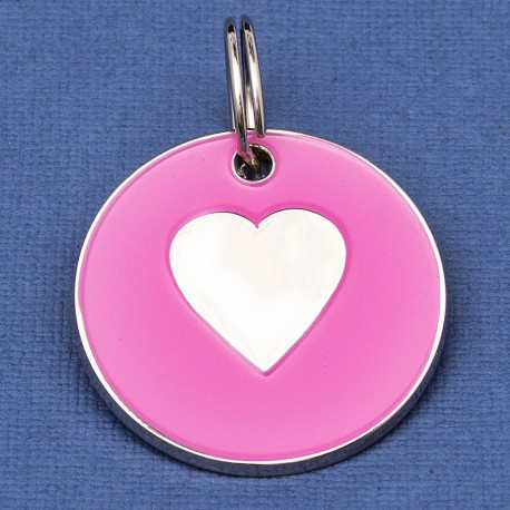 25mm Pink Heart Pet Id Tag
