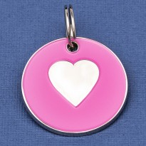 Large Dog ID Tag Pink Heart